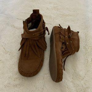 Makalu Fringe Booties - Brown